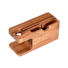 2 in 1 Bamboo Wood Desktop Stand for iPhone iPad Tablet Phone Stand Holder Charger Charging Dock Sta