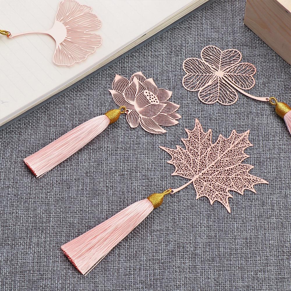 14 models Metal Bookmark Chinese Style Vintage Creative Leaf Vein Hollow Maple Leaf Fringed Apricot Leaf Bookmark Gifts