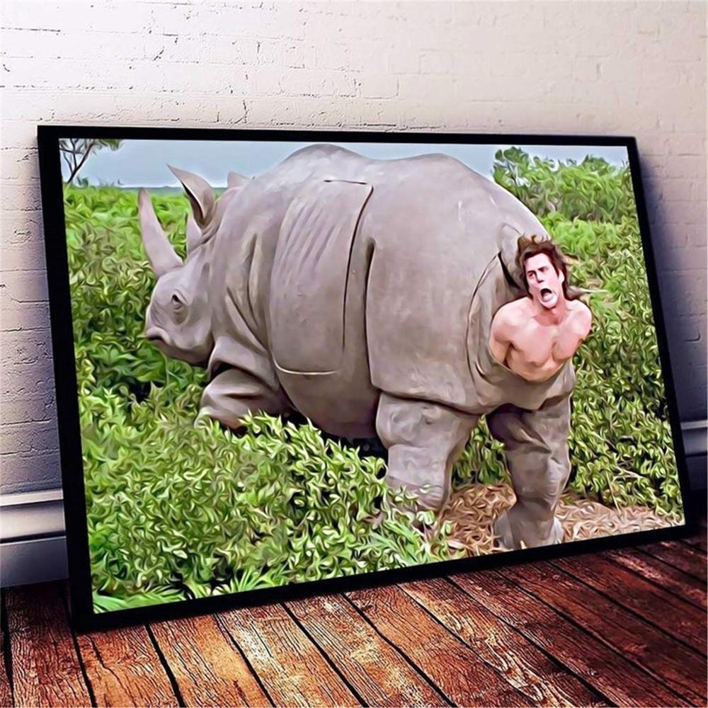 Arte de la pared el rinoceronte en Ace Ventura Poster lienzo ilustraciones impresiones pintura arte impresiones imagen decoración del hogar Decoración Para sala de estar