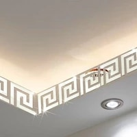 3d acrylic mirror wall stickers geometric greek key pattern acrylic mirror diy wall art decor applique 10 pieces