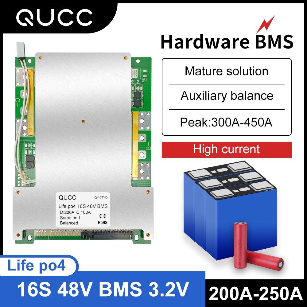 Qucc Lifepo4 48 فولت BMS 16S 200A سيارة كهربائية موتور ليثيوم الحديد الفوسفات عالية الحالية Overcharge لوح حماية التعادل
