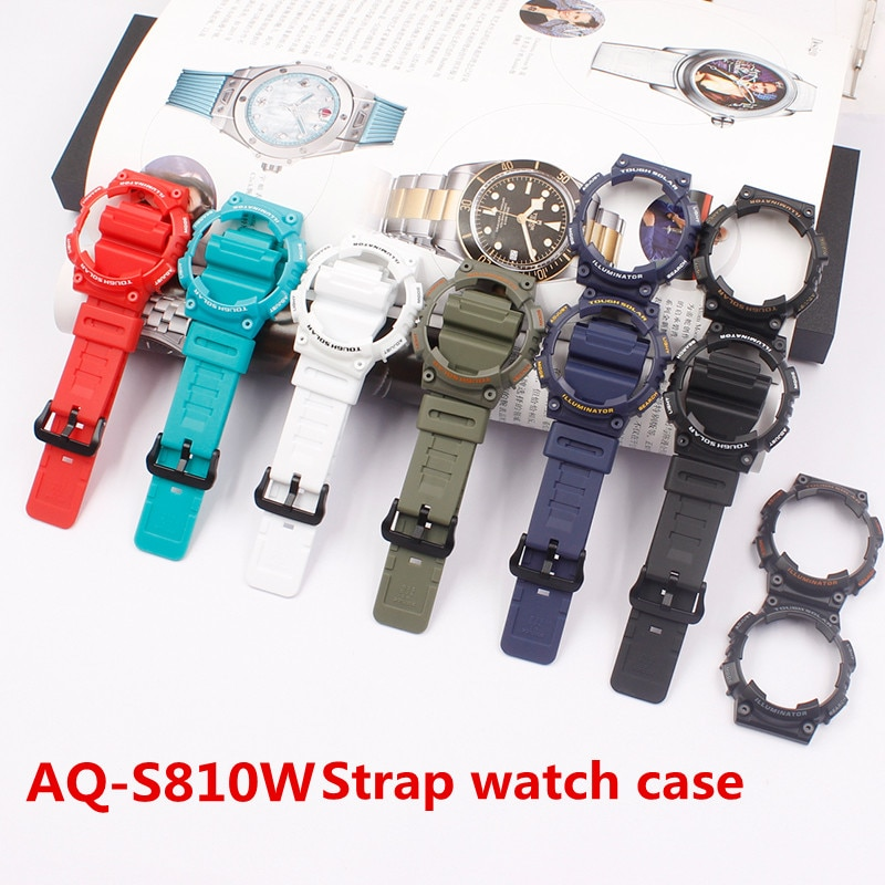 Watch Accessories Applicable  for Casio Watch Case Strap AQ-S810W AQ-S810 Resin Strap Men's Watch Strap