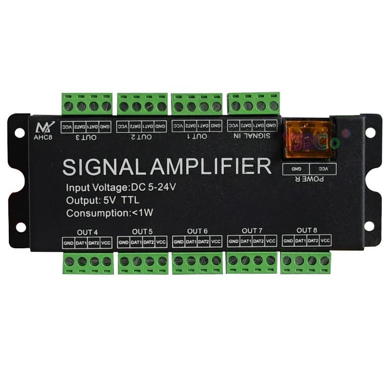 ltech led artnet spi converter dc5 24v input spi ttl digital signal output for ws2811 ws2812 lpd6803 led strip fast shipping Full color 8-channel WS2811/2812B/1903 Lamp Tape Amplifier DC5V 12V 24V Input,5V TTL signal Output,LED Strip Light Repeater