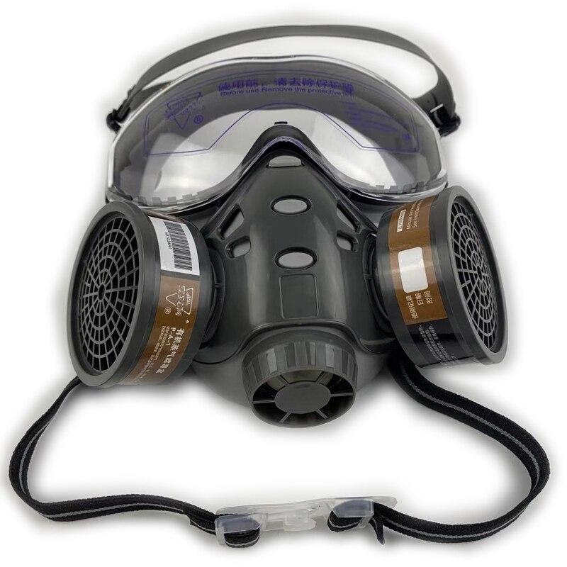 Máscara de Gas con pintura de aerosol de cristal de seguridad decoración de pesticidas químicos antipolvo con filtro respirador máscaras de cara completa