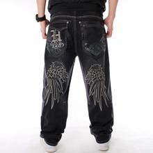 Man Loose Jeans Hiphop Skateboard Baggy Denim Pants Hip Hop Rap Male Black Trouses Big Size 30-46