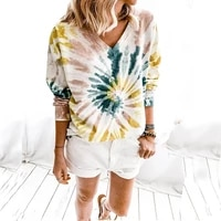women autumn winter 2020 v neck tie dyed printed long sleeve loose top t shirt casual sweatshirts tops woman tshirts graphic