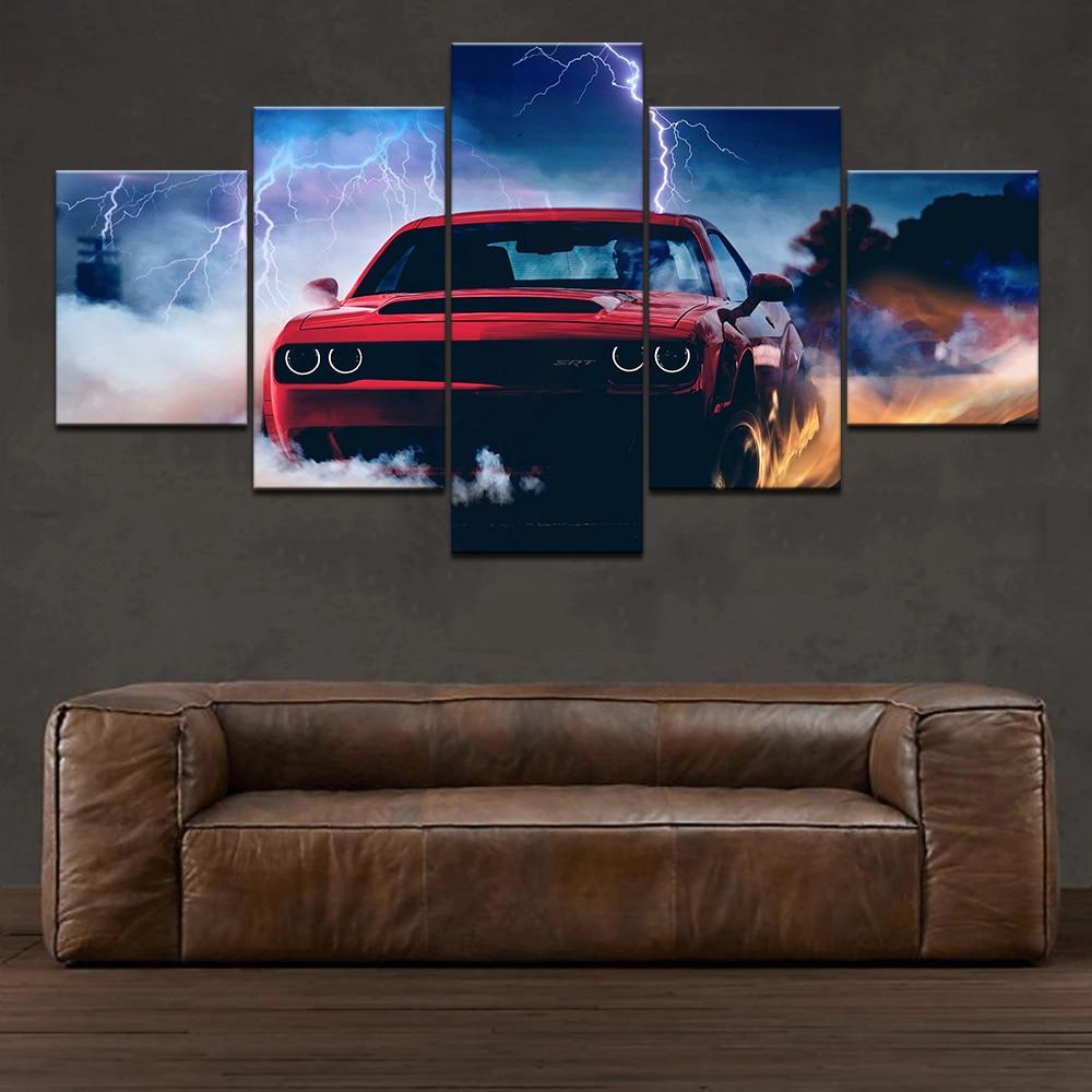Dodge Challenger diablo pared HD impresión arte moderno imagen 5 piezas papel pintado Modular cartel sala de estar decoración del hogar