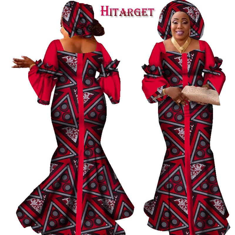 african dresses for women fashion design new bazin dress long with scarf clothes WY2347