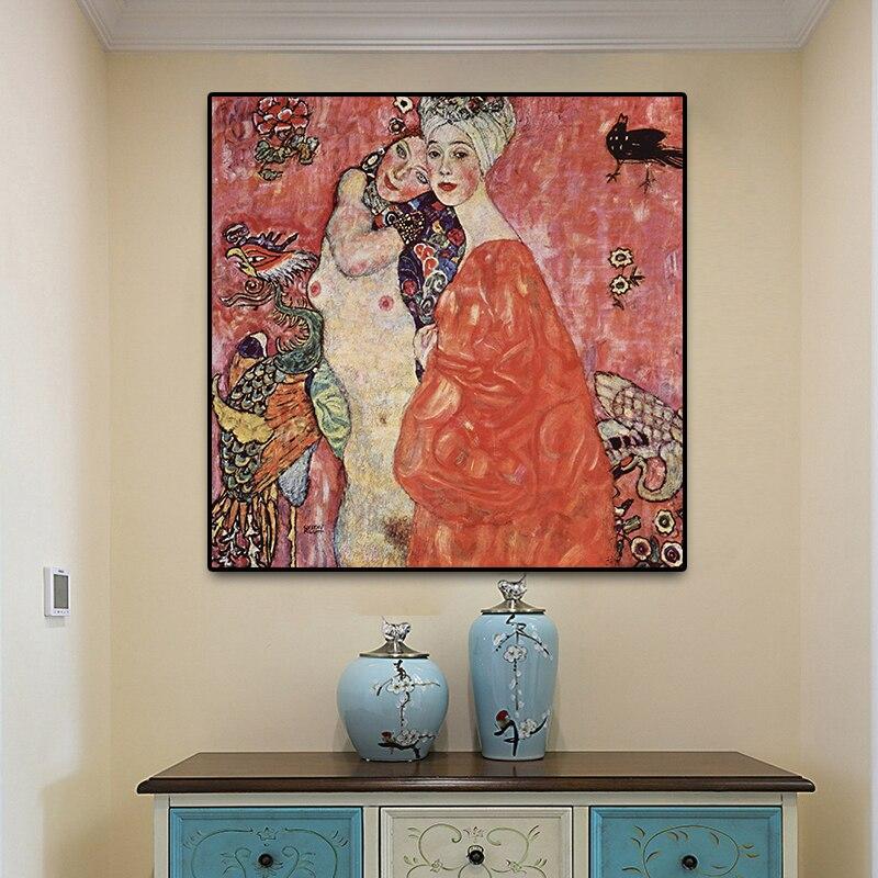 グスタフ · クリムト女性の友人再現油絵キャンバスアートスカンジナビアポスターやプリントリビングルームのために