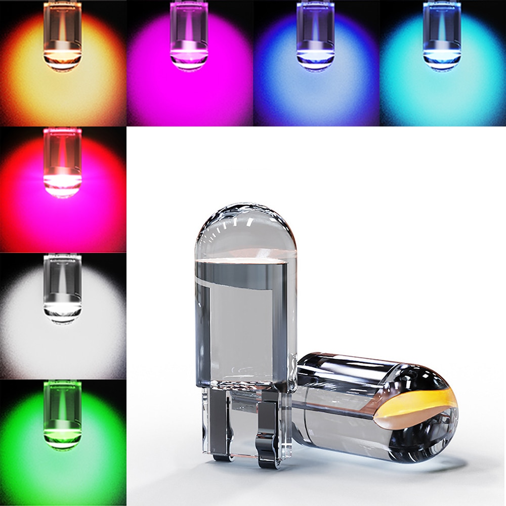 30Pcs Car T10 Led Bulbs 194 168 W5W LED Light Cold White Auto COB Silica Red Blue Green Yellow License Plate Lamp 12V Universal