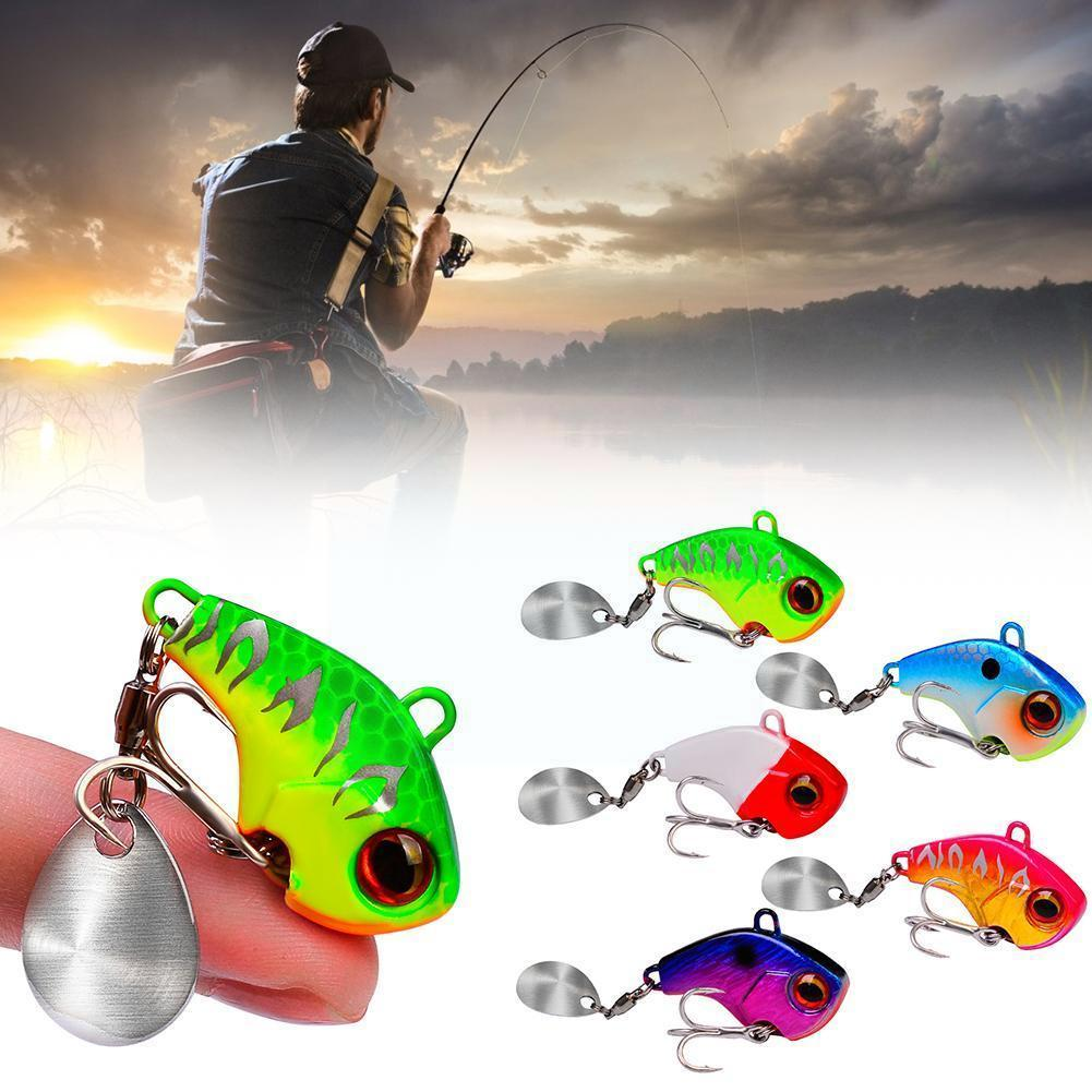 1PC Metal VIB Sequins Lure With Rotating Sequin Spoon Fishing Hook Spinner Lure with Wobbler Jig Tackle BKB Baits Fishing M7W1 full lure kit set worm hook soft bait popper pencil crank wobbler vib minnow frog spinner connector jig fishing tackle box