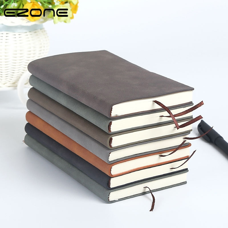 EZONE A5/A6 Leather Cover Notebook Business Notebook Student Office Writing Notebook Diary Line Inner Pages School Office Supply