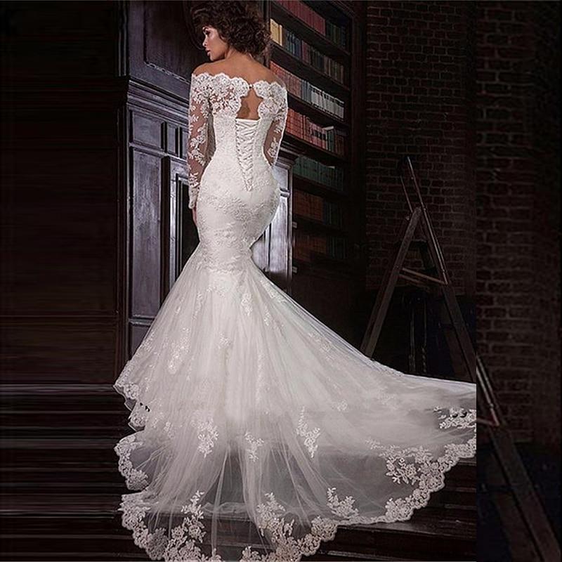Royal Wedding Dresses Mermaid Boat Neck Full Sleeves Tulle Floor-length Appliques Lace Up Luxury Bridal Gowns Vestido De Novia