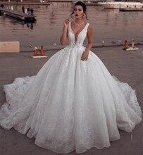 Glamorous V-ausschnitt Spitze Kleider für Hochzeit Party 2019 Mit Spitze Applique Ballkleid Braut Hochzeit Kleid robe de mariage Customed