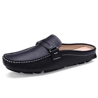 2020 brand men shoes summer casual flat shoes man soft leather shoes slip on half slippers men comfortable driving loafers