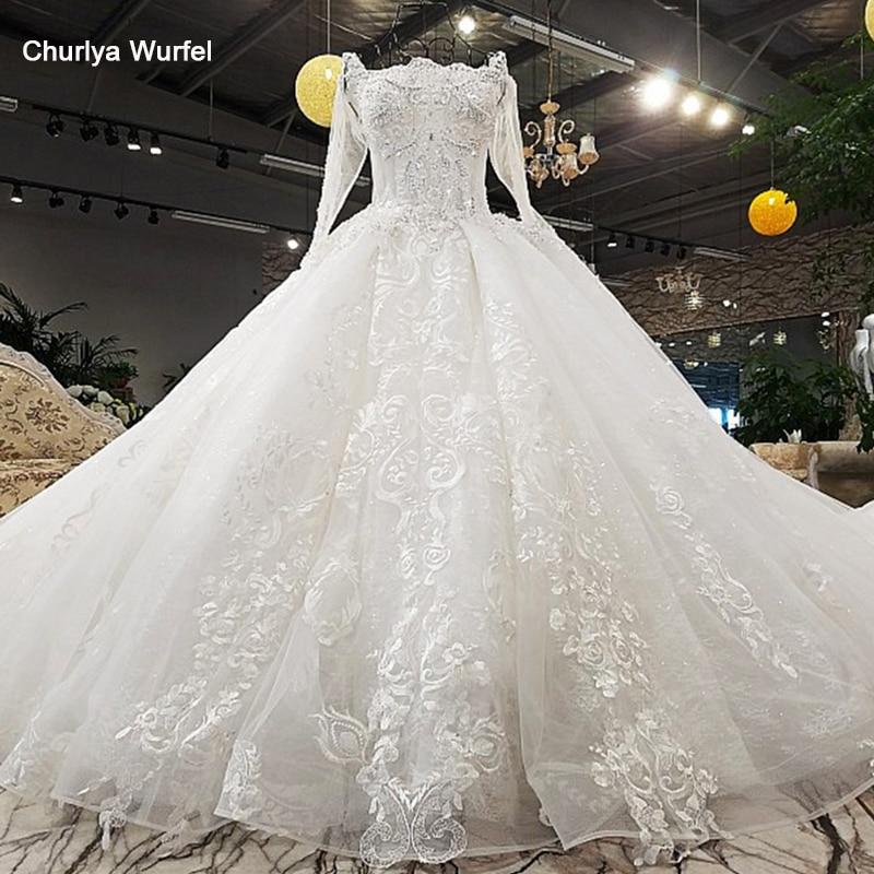 LS00371-1 vestido de novia de lujo con cordones espalda larga cola larga mangas vestidos de boda blanco hinchado 2018