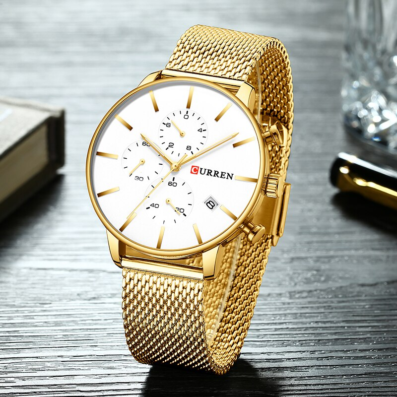 Relógio de Pulso Relógios de Aço à Prova Masculino de Quartzo de Luxo da Marca Curren Masculino Dwaterproof Água