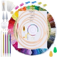 lmdz embroidery kit211 pcs embroidery starter kit with instructions 100 colors threads embroidery floss and embroidery hoops