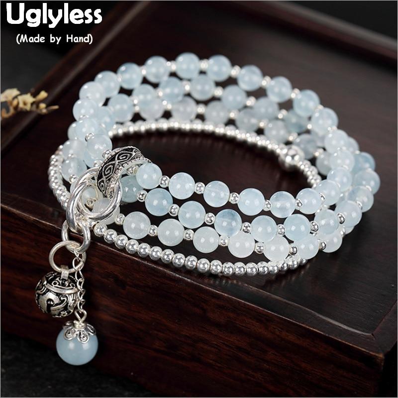 Uglyless-أساور من الفضة الإسترليني على شكل زبرجد للنساء ، سوار مطرز بالخرز ، شكل حبل مرن ، 4 طبقات ، 925 فضة ، BR246