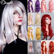 S-noilite 28colors 22inch Loose Wave Synthetic Wigs halloween Cosplay wig Blue Red Pink Grey Purple Hair wig cosplay for party