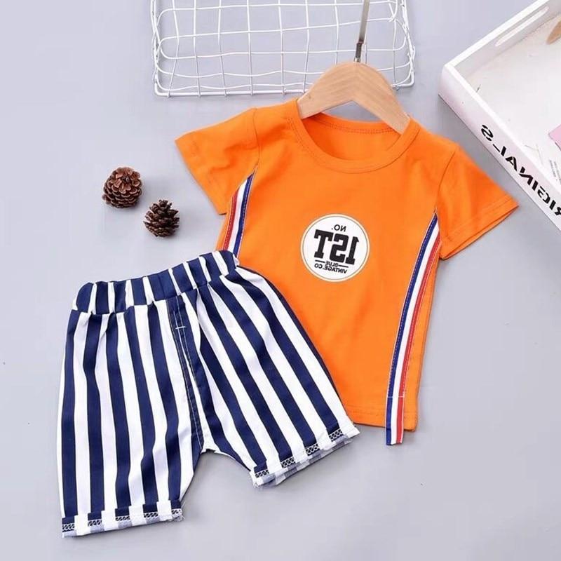 Conjuntos de ropa de bebés de verano, camiseta, ropa, estilo de caballero, trajes de chándal de dibujos animados, ropa para bebés