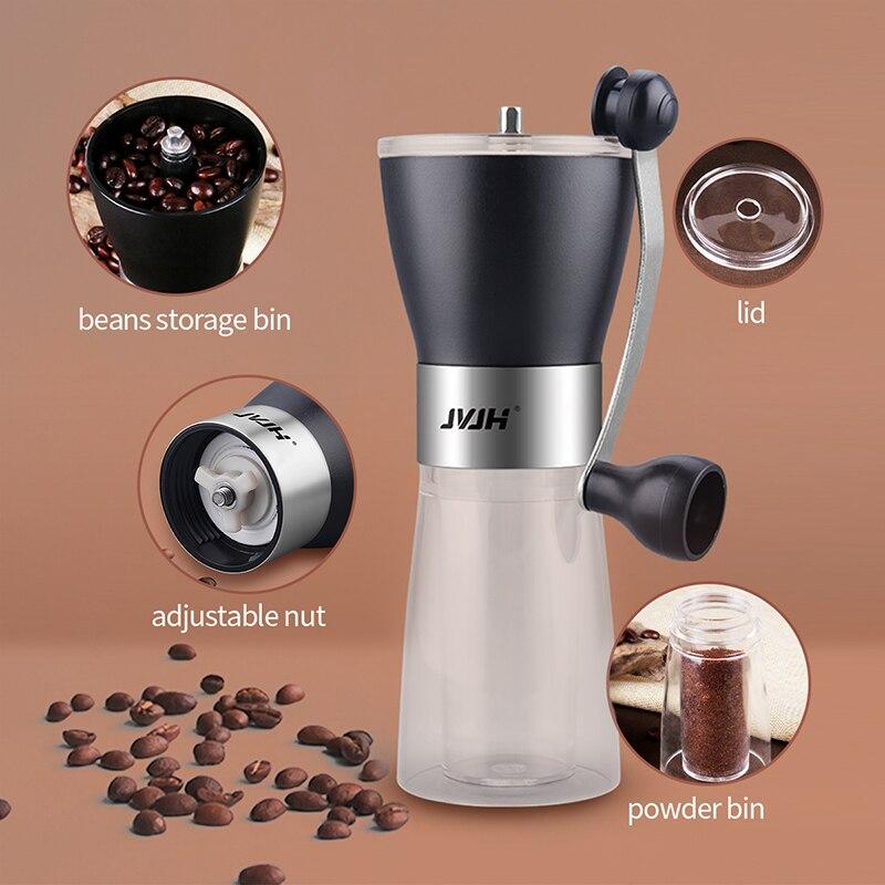 Jvjh دليل طاحونة القهوة الفولاذ المقاوم للصدأ اليدوية مطحنة حبوب القهوة طحن القهوة السيراميك طحن الفول القهوة صنع أداة