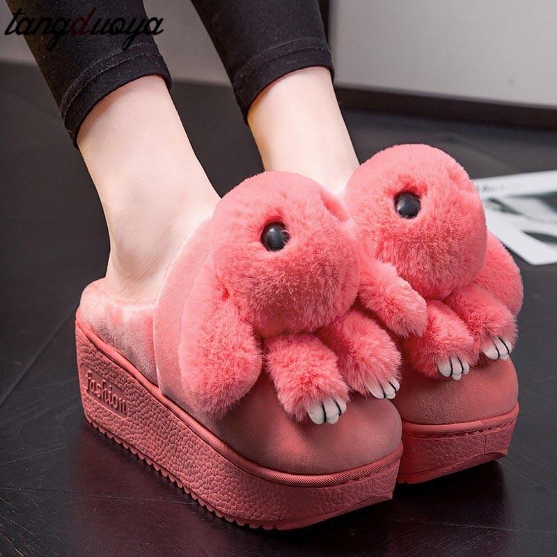 Winter Women Slippers Indoor Home Female Shoes Fur Plush Rabbit Cotton Ladies Soft Comfort Plus Size Footwear