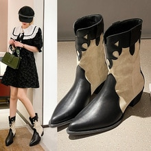 Women's Chelsea Boots 2021 Winter New Stitching Pointed Thick Heel Martin Ankle Boots Non-slip Warm