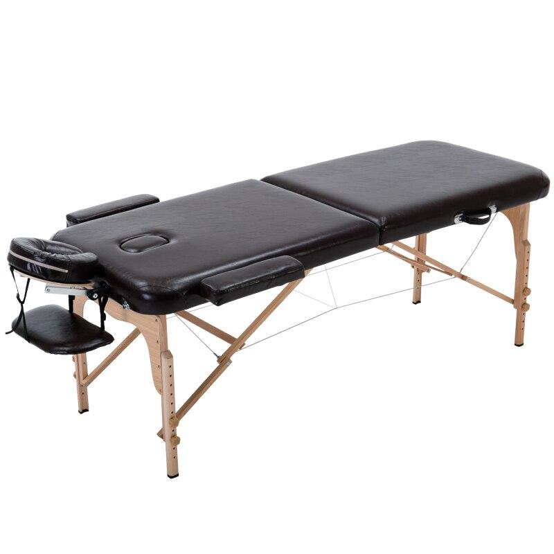 Mesa de masaje para de belleza de cama plegable de 2 sections... ligera marco de madera para terapia de tatuajes 70 cm ancho