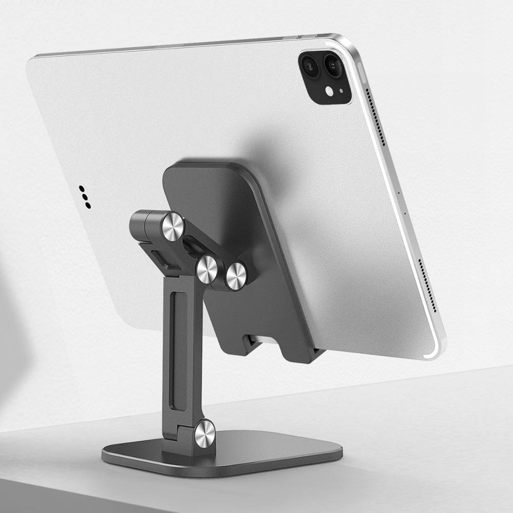 Desk Mobile Phone Holder Stand For iPhone iPad Pro Tablet Foldable Flexible Metal Table Desktop Adju