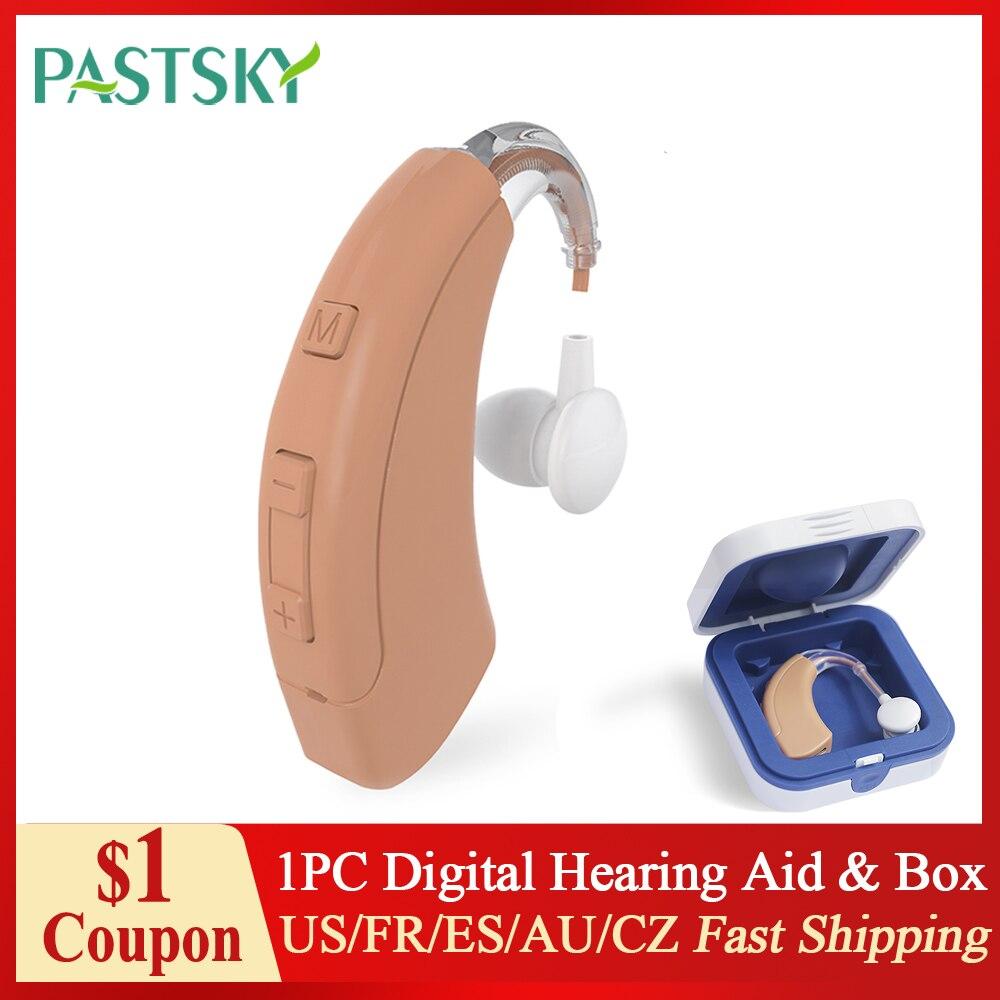 4 قناة الرقمية السمع قابلة للشحن BTE مكبر صوت غير مرئية الصوت محسن الصمم/المسنين الإيدز مع مكافحة صندوق إيداع