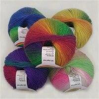 5 pieces of wool rainbow yarn long dyed hand woven wool yarn shawl coat wool scarf hat line wool wool yarn
