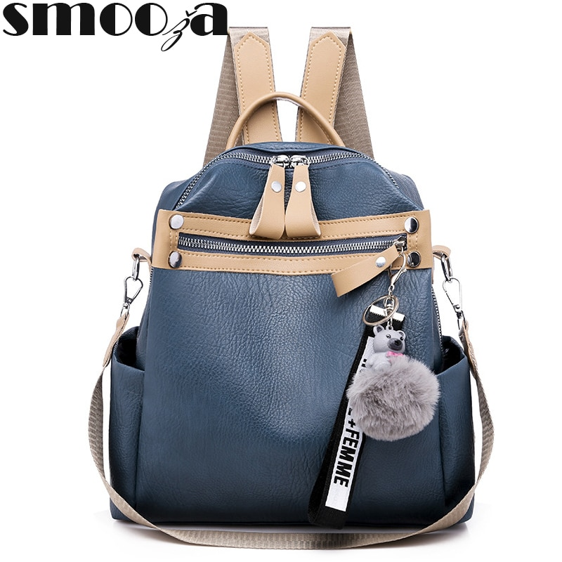 SMOOZA moda de calidad de cuero Anti-ladrón mujeres mochila de gran capacidad Bola de Pelo bolsa de escuela para niñas adolescentes bolsos de viaje masculinos