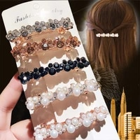 elegant women pearl crystal barrettes hair clips bridal headwear hairpins headbands hair holder jewelry accessories