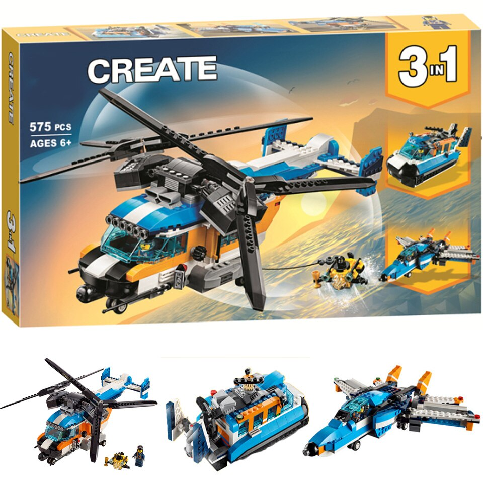 2020 nuevo bloque de construcción lepining para niños 31096 juguetes ensamblados creativos variedad 3 en 1 hélice doble helicóptero regalo