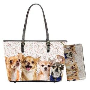 Kawaii Chihuahua 3D Print PU Leather Bags Fashion Women Large Shoulder Bag 2pcs/set Daily Handbags for Female Purses