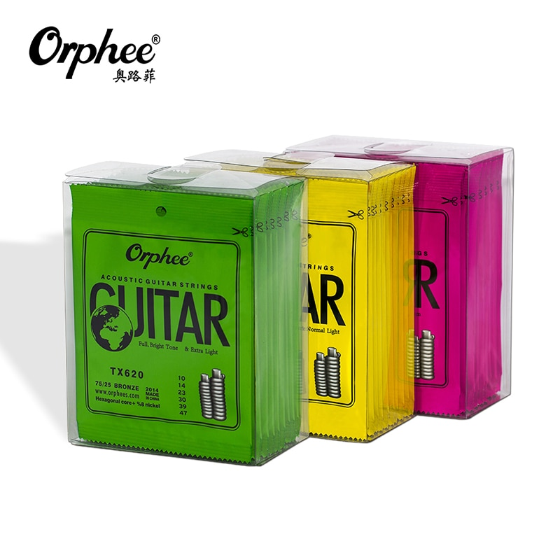 Orphee Acoustic Guitar Strings TX Series Green Phosphor Folk Hexagonal Carbon Steel Metal String for Guitar Parts Accessories