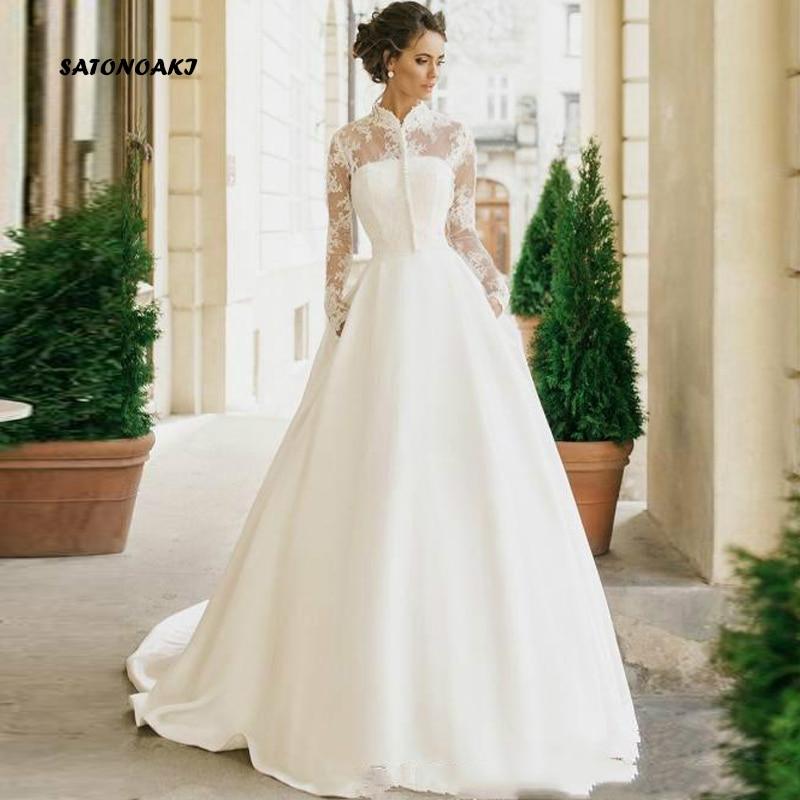 Vestido De Novia De manga larga para mujer, ropa De Novia De satén De Princesa con cuello alto, modesto, tienda en línea, 2020