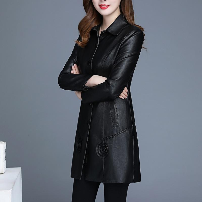 2020 new Korean version of leather woman medium and long lapel body pu leather windbreaker women's size women's leather coat enlarge