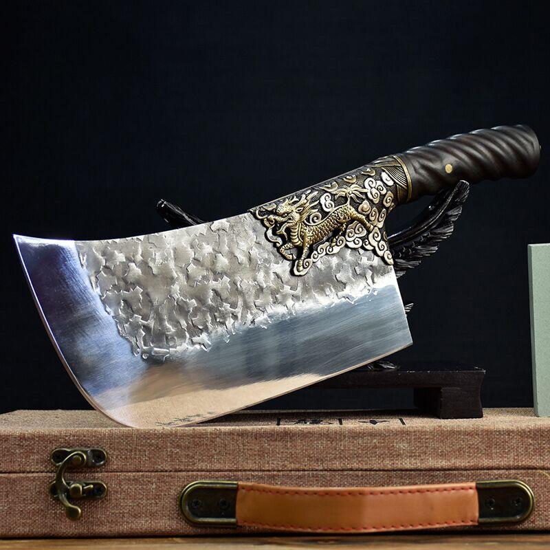 سكين مطبخ فضي مذهبة يدويًا لونغكان شبح مصنوع يدويًا من سكين التقطيع القديم المطروق المزدوج سكين تقطيع العظام