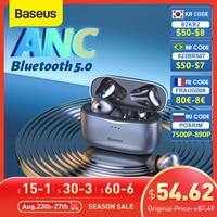 Baseus S2 TWS ANC Bluetooth наушники, настоящие беспроводные наушники, анти-шумоподавление, наушники с 4 микрофоном, поддержка беспроводной зарядки