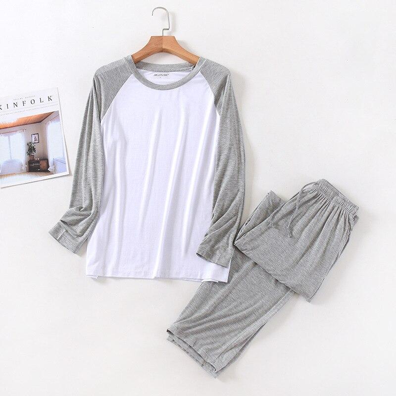 Весна и лето мужские% 27 модал с длинными рукавами брюки пижамы комплект сращивание большие размеры спорт дом сервис костюм весна и осень