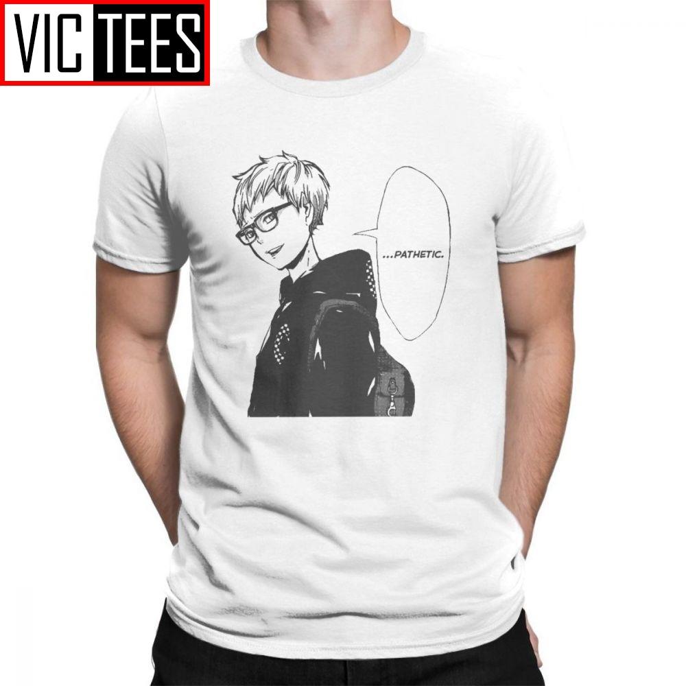 Haikyuu camisetas Tsukishima Kei hombres camisetas de manga corta ajuste clásico de verano de cuello redondo 100% de algodón camisetas de cómics hombre