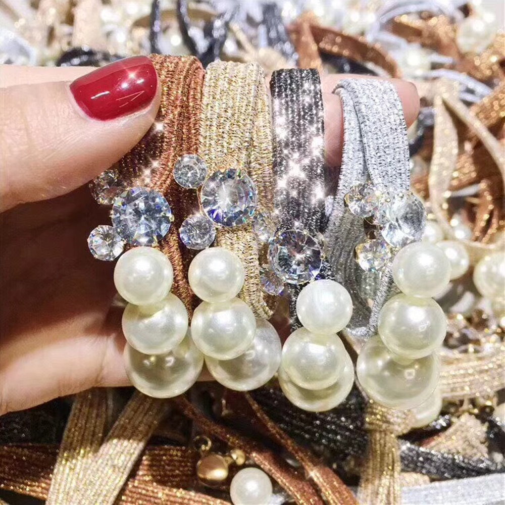 Coreano de cristal pérola elástico faixa de borracha cabeça corda decoração para meninas cabelo faixa laços cabelo acessórios de estilo