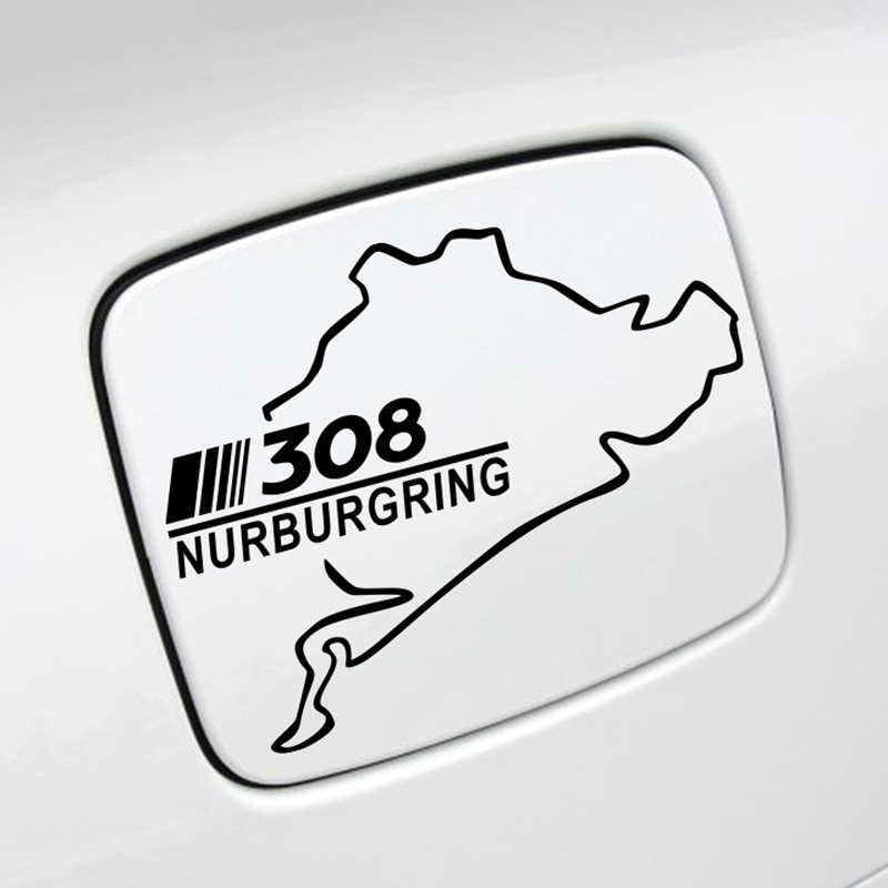 Pegatinas de coche divertidas tapa de tanque de combustible Captivation reflectante PVC Auto ribete carreras Nurburgring calcomanías para Peugeot 308 accesorios de coche