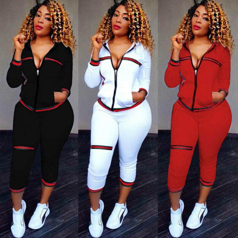 Roupas esportivas femininas com capuz, 2 peças, manga comprida, zíper, calças compridas, casuais soltas, outono 2019 conjunto de roupas,
