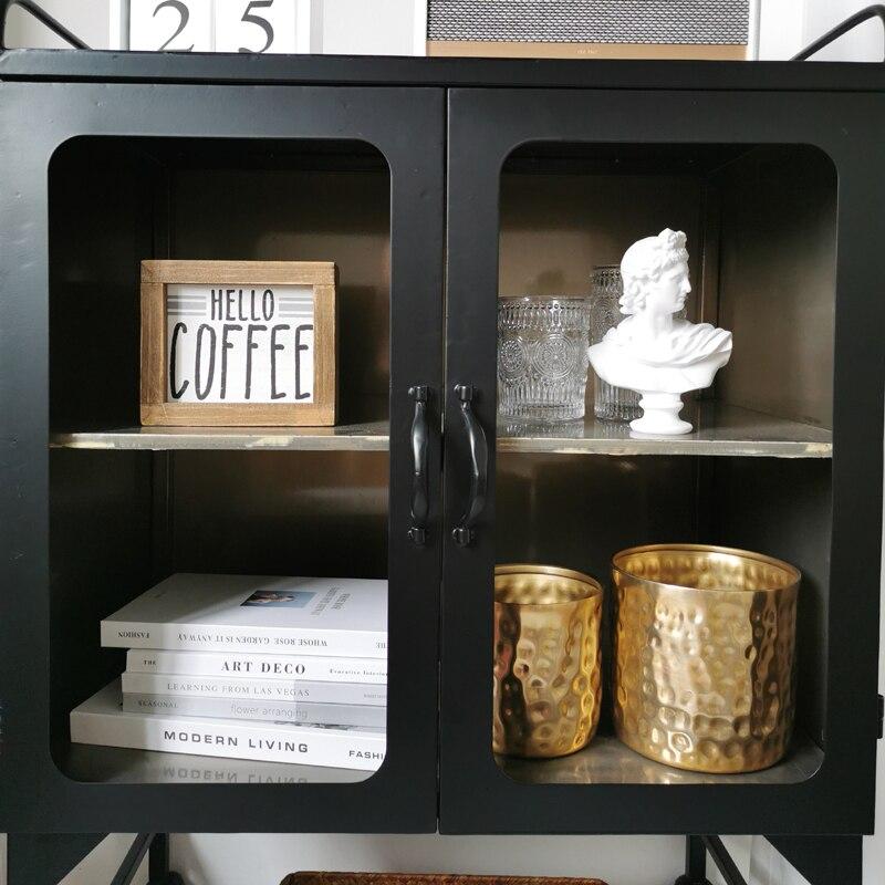 Lockers Modern Style Black Iron Art Sideboard Storage Low Cabinet Living Room Furniture Glass Display Wine Cabinet