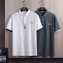 New Men Polo Shirt Summer British Men's Business Short Sleeve T-Shirt Casual Slim Breathable Letters