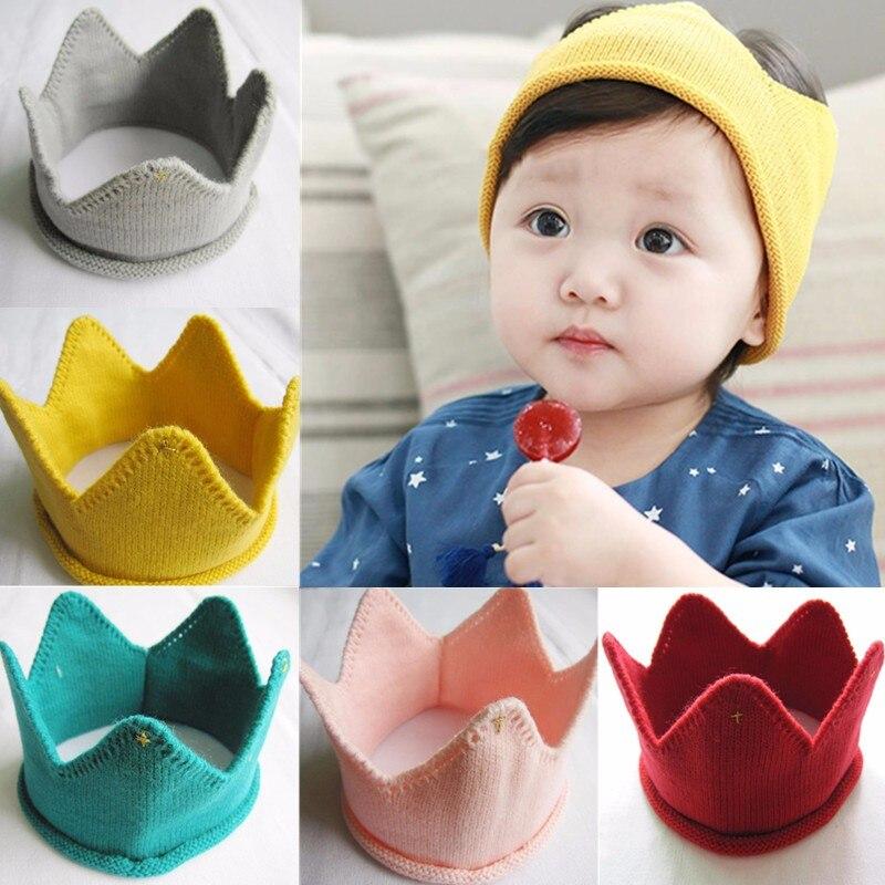 5 Цвета прекрасная корона шляпа осень-зима вязаные мягкие носки вязаные крючком Детские фотографии заколка аксессуар для шапки-бини