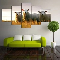 no framed canvas 5pcs sheep farm animals wall art posters prints pictures paintings home decor decorations